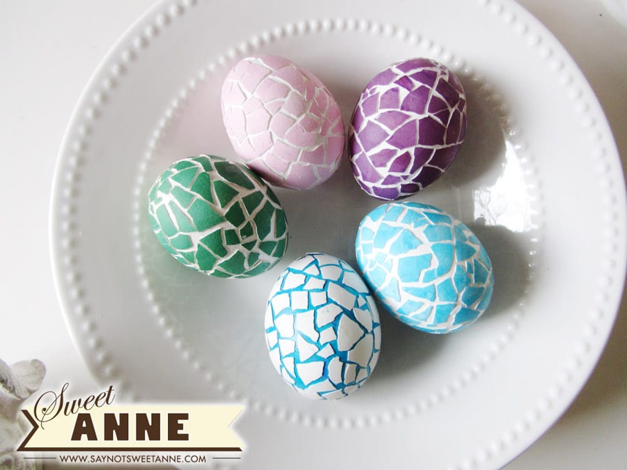 Mosaic Easter Eggs from Say Not Sweet Anne