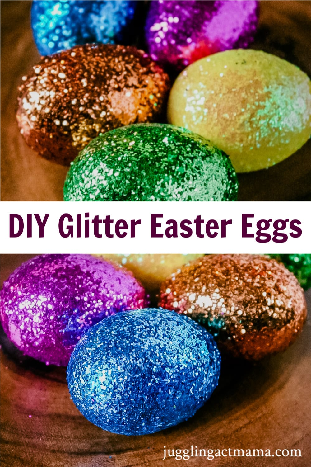 These Glitter Easter eggs are a bold and fun way to add some sparkle to your Easter basket. Your big kids can help make these in just an afternoon. via @jugglingactmama