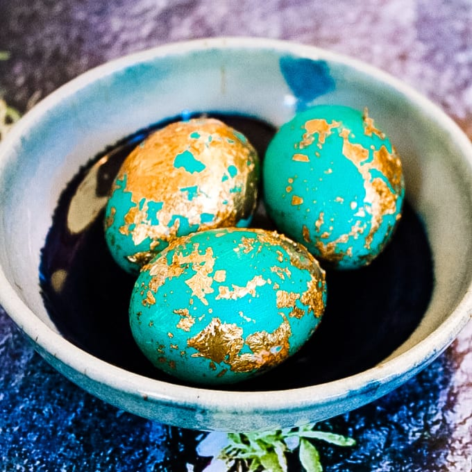 close up of DIY Gold Leaf Easter Eggs in a bowl