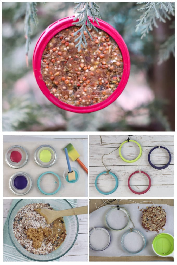 The local wildlife will go crazy for these fun and functional canning jar lid bird feeders and your little critters will love putting them together with you! via @jugglingactmama