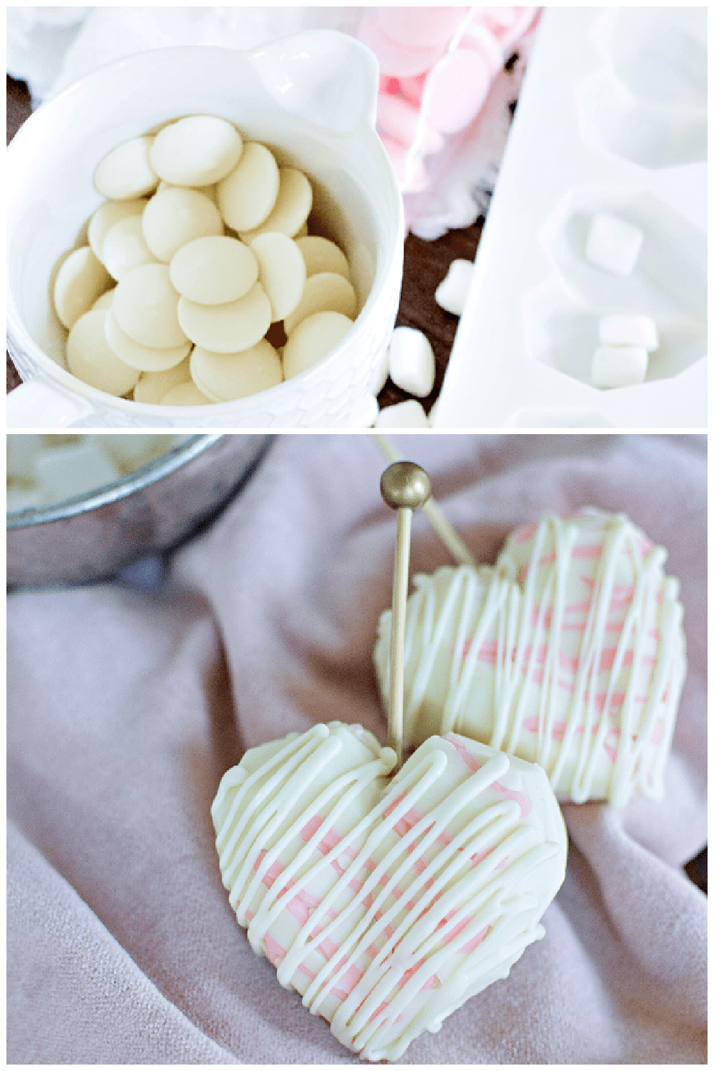 Decadent heart-shaped white chocolate hot cocoa bombs can be filled with mini marshmallows, sprinkles and more! These beautiful treats are perfect to make and enjoy with your loved ones! via @jugglingactmama