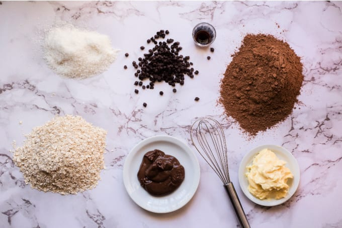Top down view of ingredients for chocolate energy balls