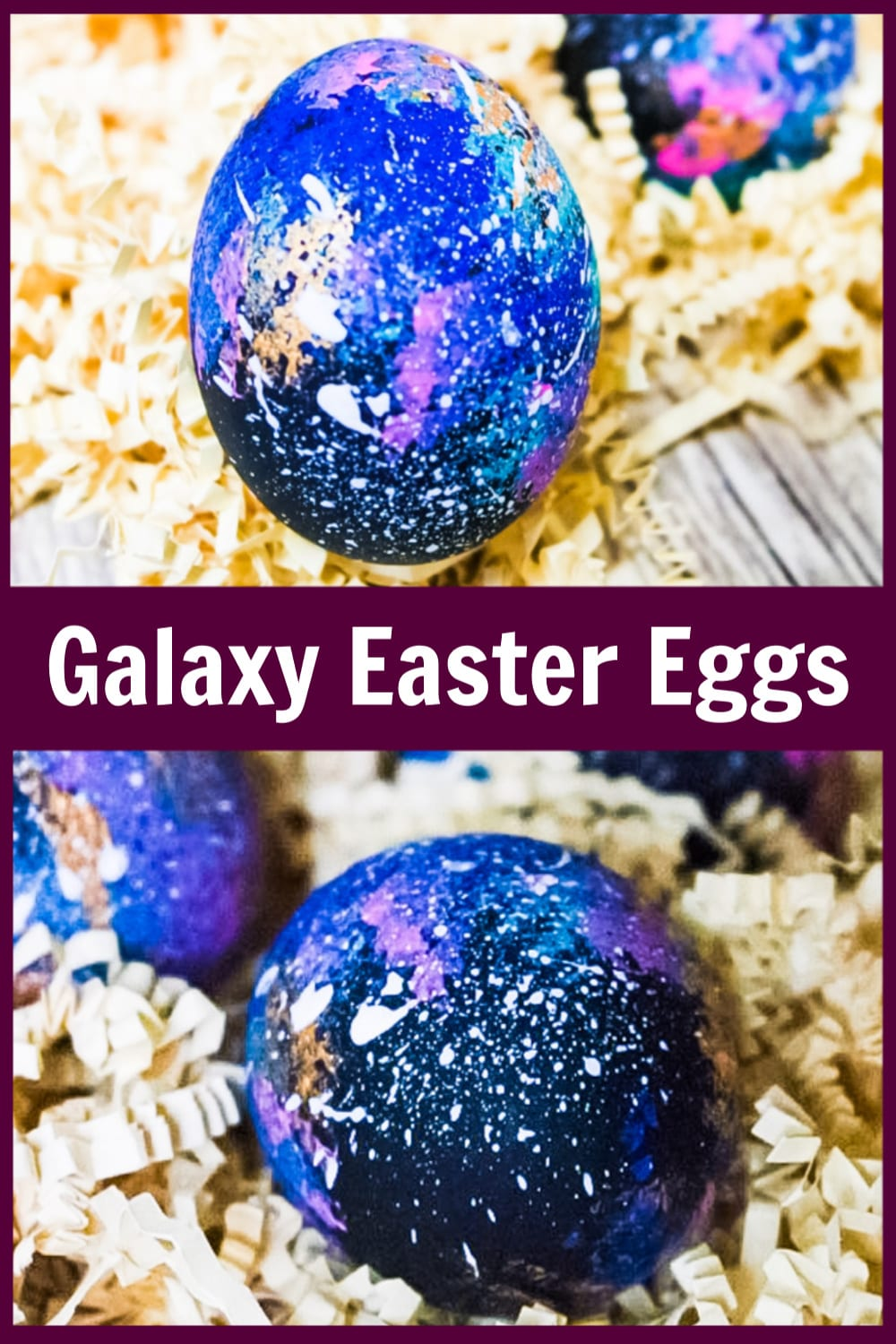 Learn to make your own Galaxy Easter Eggs with this simple tutorial. They are simple to make and real showstoppers in any Easter basket. via @jugglingactmama