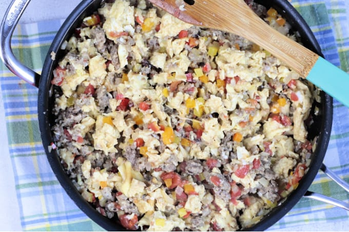 Sausage and egg mixture in a skillet