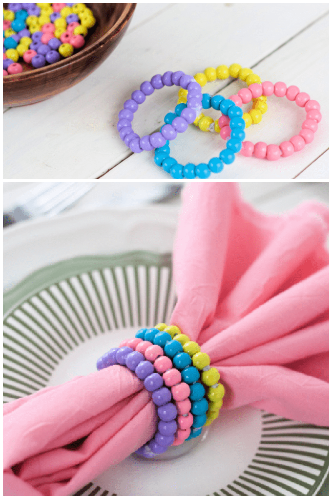 Make a sweet set of Wood Bead Napkin Rings for your Spring table this year. This tutorial could not be simpler. Even kids can make them! via @jugglingactmama