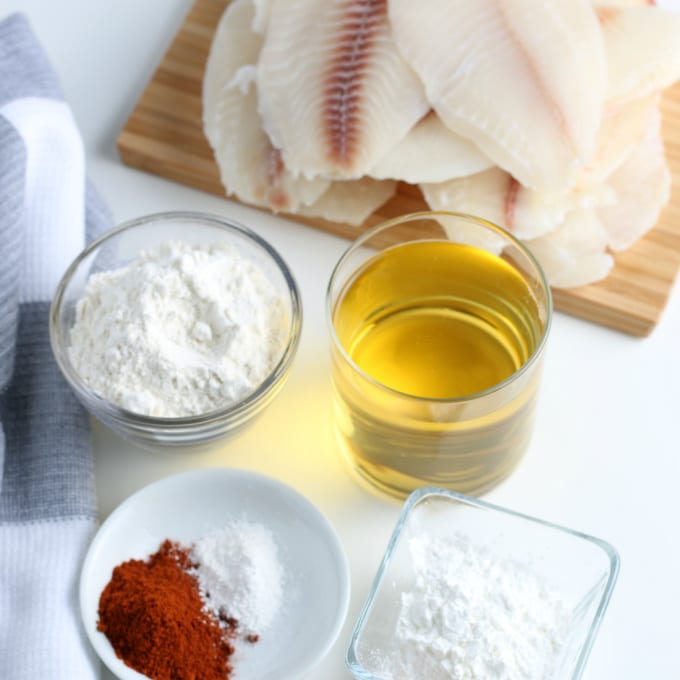 Image contains several ingredients to make baja tacos