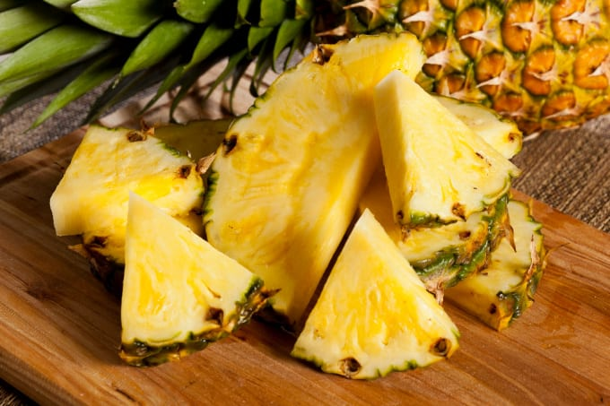 Close up image of pieces of pineapple