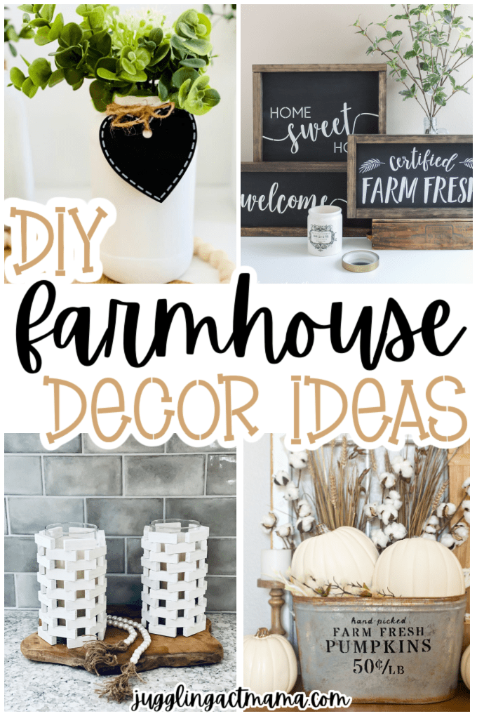 A round-up of simple, and simply beautiful DIY Farmhouse Decor that you can make. You won't want to miss this!  via @jugglingactmama