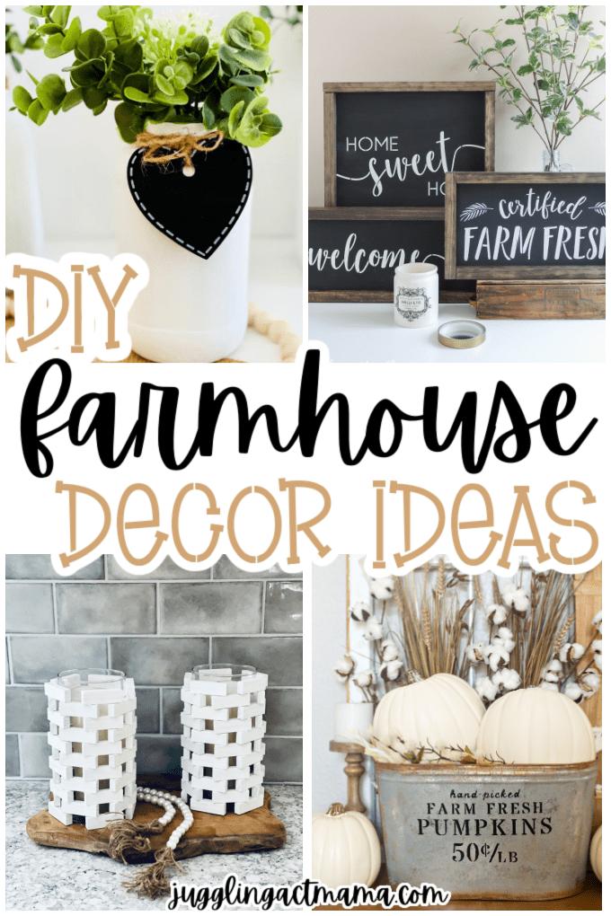 Collage of DIY Farmhouse Decor Ideas