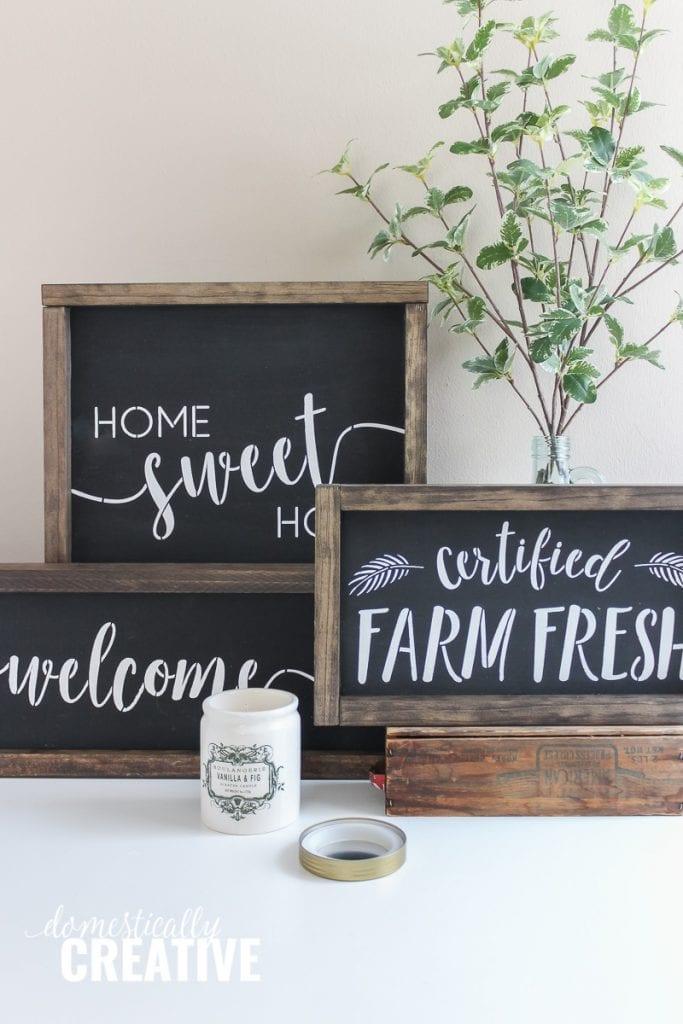 Three DIY farmhouse chalkboard signs