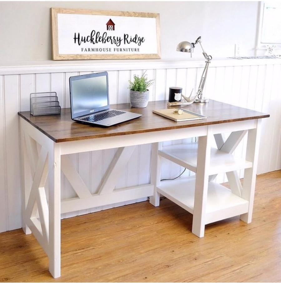 Beautiful farmhouse style desk with a white base and stained wood top