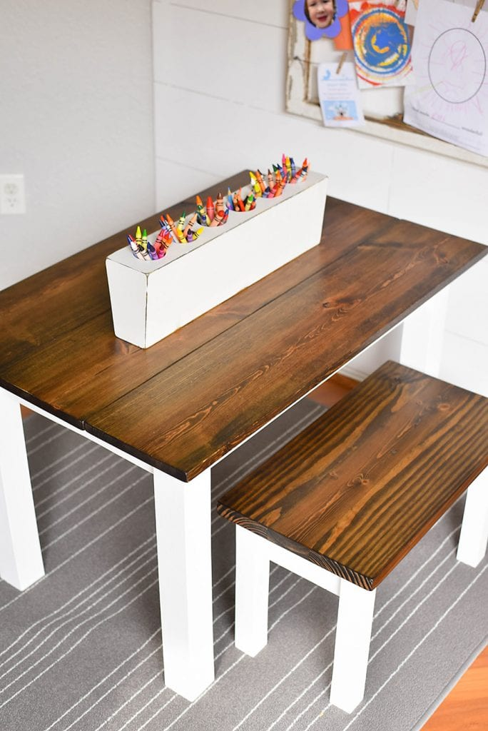 Painted white DIY farmhouse table with stained wood top for children