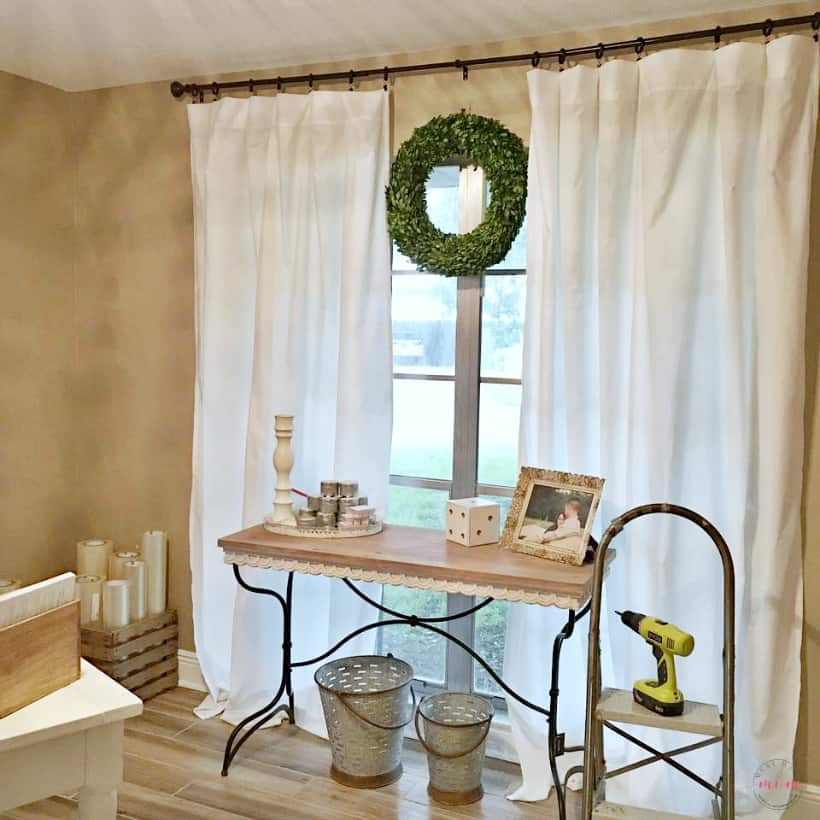 Inexpensive farmhouse style curtains made from twin sheets