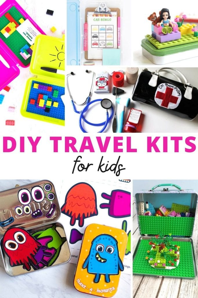 Collage of travel kits for kids