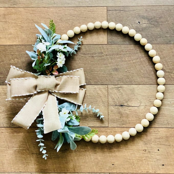 Completed farmhouse wooden bead wreath