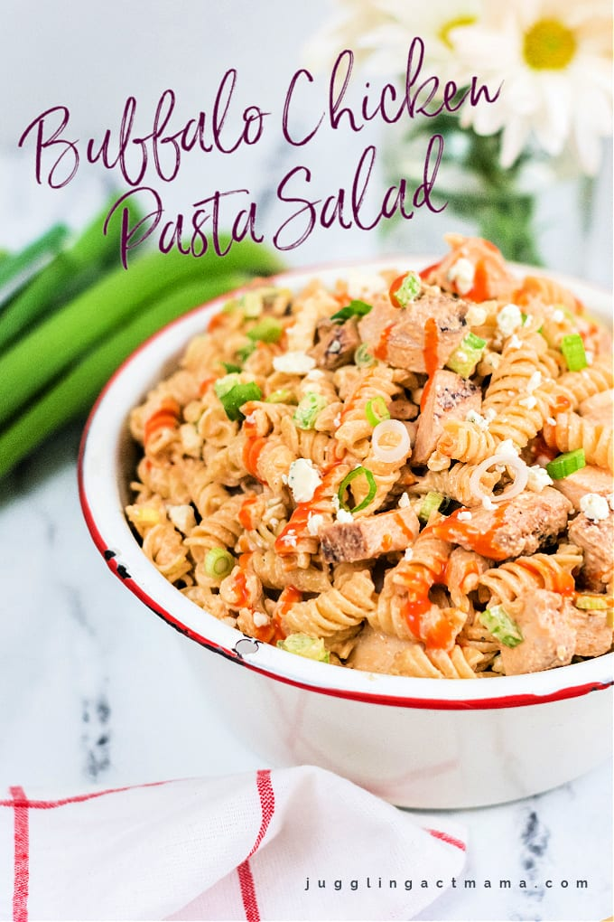 Turn up the heat on boring pasta salad with this Buffalo Chicken Pasta Salad recipe! Bold blue cheese, spicy buffalo sauce, tender chicken and al dente pasta - what could be better? Plus we have gluten-free, vegetarian and low fat options! via @jugglingactmama