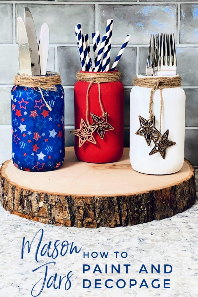 Learn how to paint (or decoupage!) mason jars for just about any holiday or event with this simple tutorial.  via @jugglingactmama
