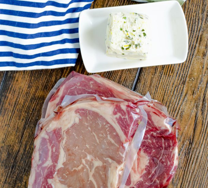 Ingredients for the best grilled ribeye with cowboy butter - ribeye steaks, cowboy butter.