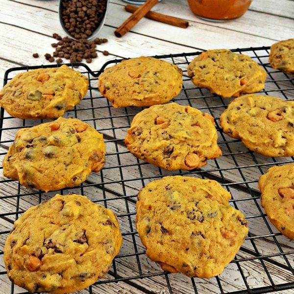 Pumpkin butterscotch cookies on a cooling rack.