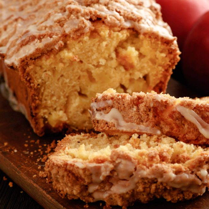 close up of apple bread