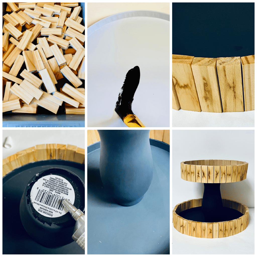 How to Make a DIY Wood Tiered Tray collage image for step by step tutorial on making a farmhouse tray
