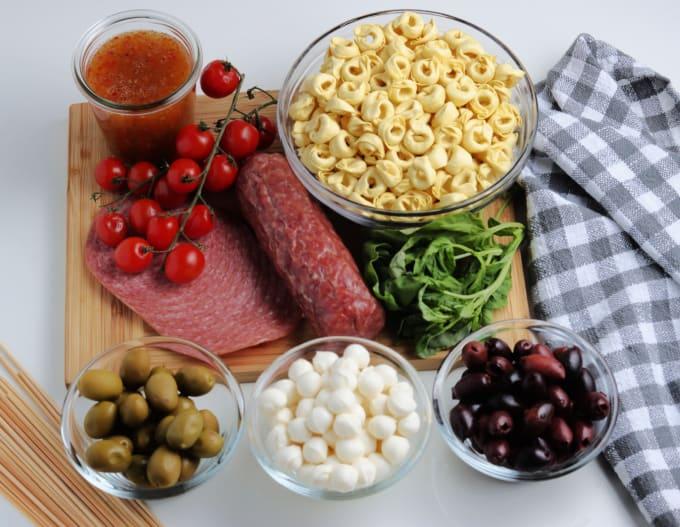 Ingredient options for Antipasto Kabobs.