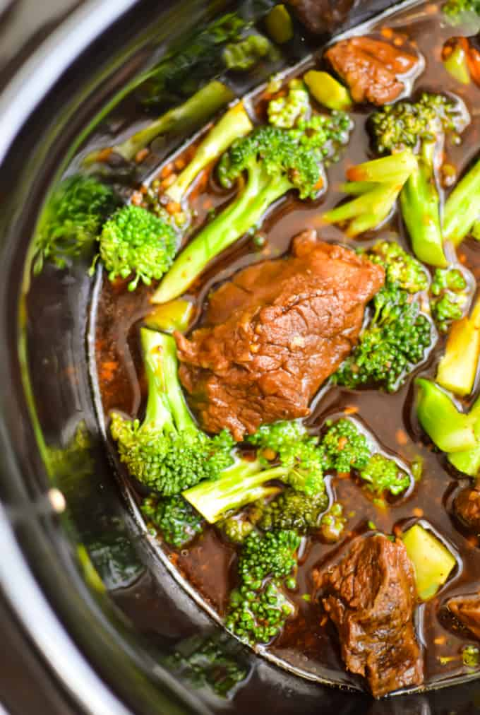Slow cooker beef and broccoli in a slow cooker pot.