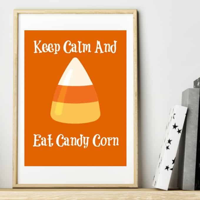 candy corn printable on wooden shelf
