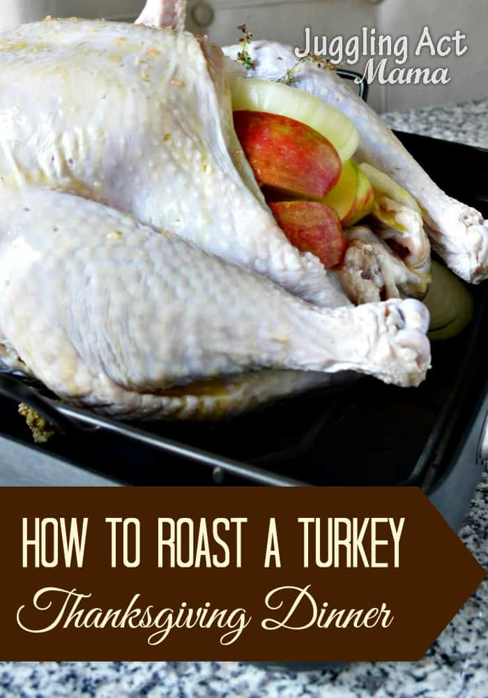Learn how to roast a delicious and juicy turkey for your Thanksgiving meal with this easy to follow recipe and tutorial. via @jugglingactmama
