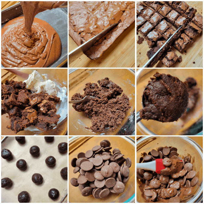 Collage of process images to make the truffles.