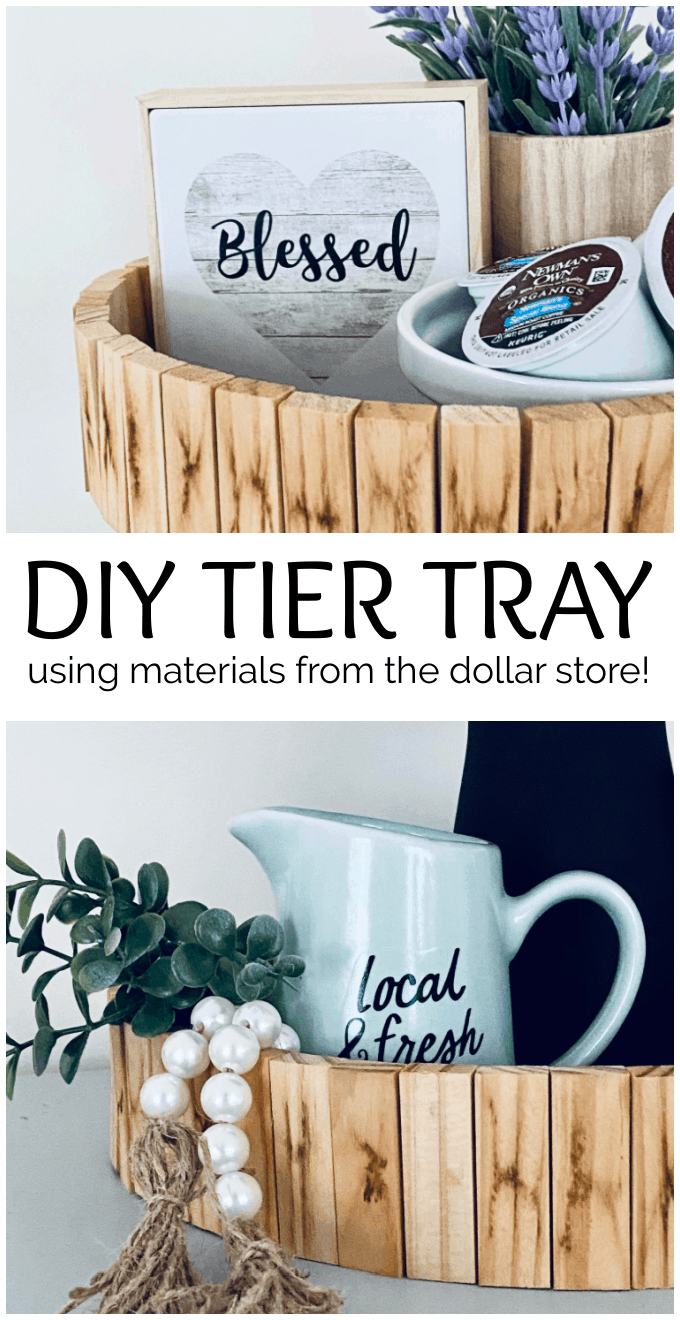 This DIY wood tiered tray tutorial will show you how to make a really unique farmhouse tray that will add rustic charm to your home using items from the dollar store. via @jugglingactmama