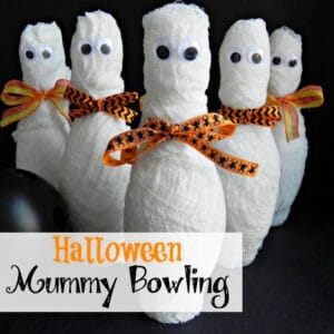 Close up, square image of Halloween Mummy Bowling.